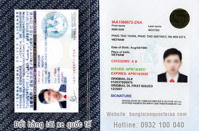 Mẫu bằng lái xe quốc tế IAA của Mỹ bao gồm sổ và thẻ cứng