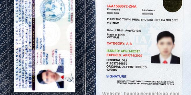 Mẫu bằng lái xe quốc tế do IAA - Mỹ cấp sử dụng trên 192 nước