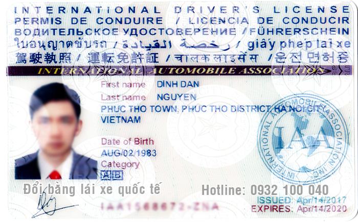 Hình minh họa mặt trước mẫu bằng lái xe quốc tế thật