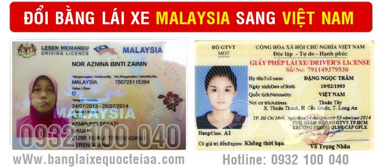 Địa chỉ nhận thủ tục cấp đổi bằng lái xe Malaysia sang Việt Nam cấp tốc qua mạng - Hotline/ Zalo/ Viber: 0932 100 040