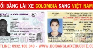 Minh họa: mẫu bằng đổi bằng lái xe Colombia sang Việt Nam qua mạng - Hotline/ Zalo/ Viber: 0932.100.040