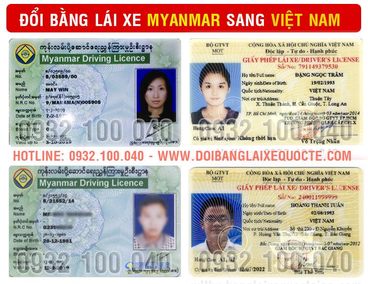 Hướng dẫn thủ tục chuyển đổi bằng lái xe Myanmar sang Việt Nam cấp tốc qua mạng - Hotline/ Zalo/ Viber: 0932.100.040