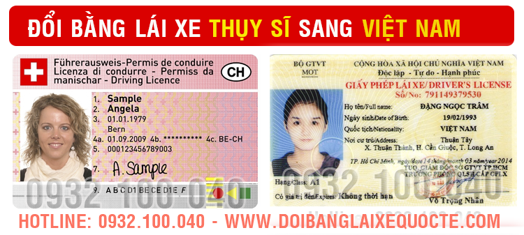 Địa chỉ cấp đổi bằng lái xe Thụy Sĩ sang Việt Nam - Hotline/ Zalo/ Viber: 0932.100.040