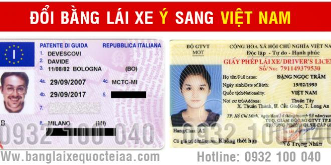 Đổi bằng lái xe Ý (Italia) sang Việt Nam
