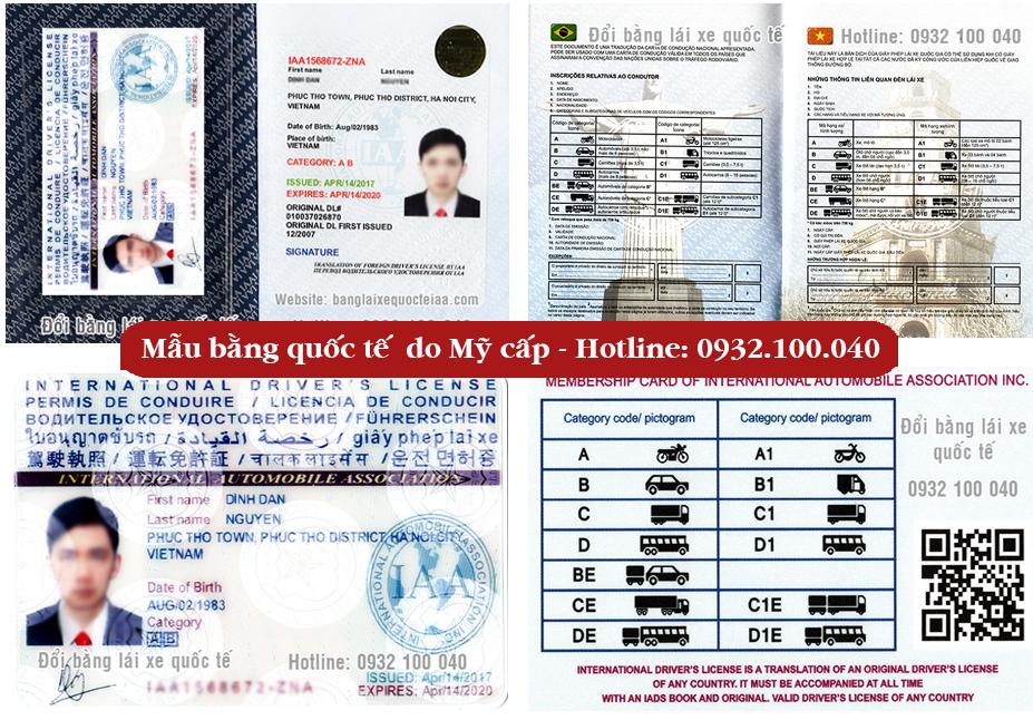 Ảnh minh họa mẫu bằng lái xe quốc tế do IAA - Mỹ cấp - Hotline: 0932.100.040