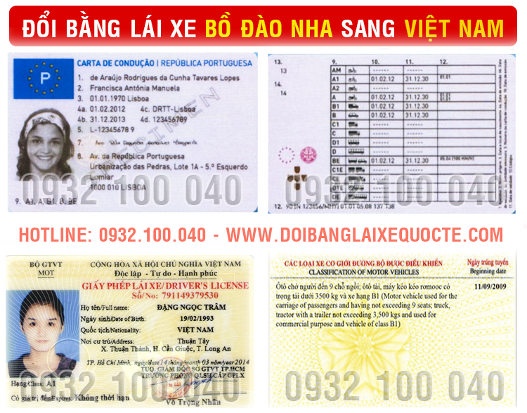 Hướng dẫn đổi bằng lái xe Bồ Đào Nha sang Việt Nam qua mạng - Hotline/ Zalo/ Viber: 0932.100.040