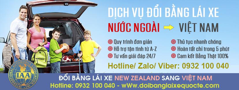Địa chỉ đổi bằng lái xe New Zealand sang Việt Nam qua mạng - Hotline/ Zalo/ Viber: 0932.100.040